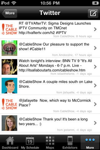 The Cable Show 2011 Mobile App In Action